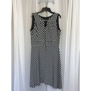 White House Black Market Striped Dress Sz 14